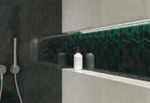 Szklane mozaiki w kuchni i łazience